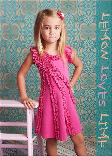 Lemon Loves Lime Ruffle Dress In Fuchsia Pink Girls