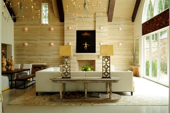 Chandeliers!!!  Church renovation: Amazing Rooms, Showroom Beckwithinteriors, Warm Woods, Stone, Woods Blend, Contemporary Living Rooms, Beautiful Wood, Wood Tile