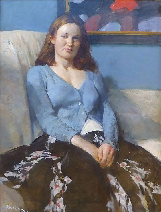 Burton Silverman: ''Girl in Blue Sweater'' 26 x 20'' original framed oil: