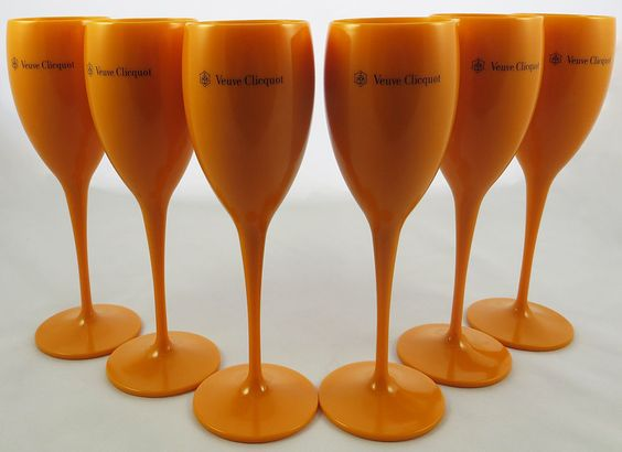 yellow label flute acrylic champagne veuve clicquot glasses brand new set of 6 i have to. Black Bedroom Furniture Sets. Home Design Ideas