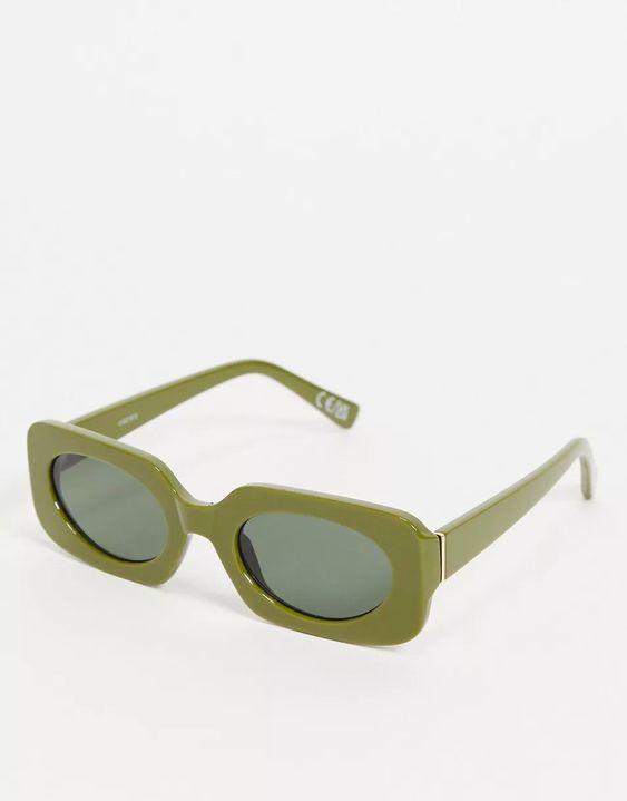ASOS DESIGN mid square sunglasses with tonal lens in green   ASOS