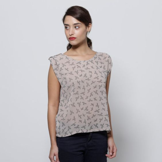 Birds printed cream shirt by AndyVeEirn on Etsy