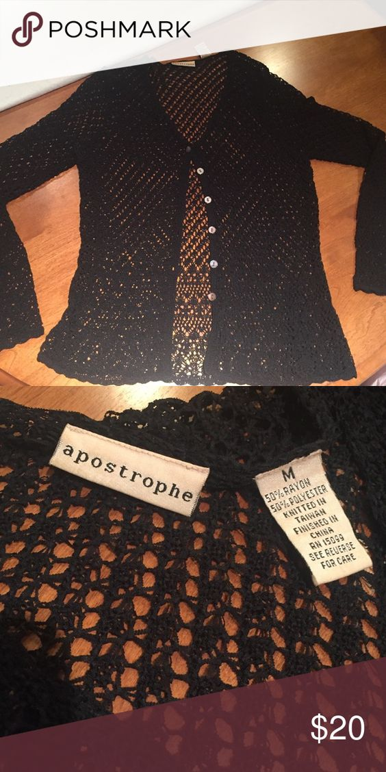 Black long sleeve apostrophe cardigan Like new, excellent condition worn under 5 times! Pretty see through open knit / crochet button down cardigan. Can pair with jeans or over a dress for a special occasion to cover shoulders if necessary! Reasonable offers accepted Apostrophe Sweaters Cardigans