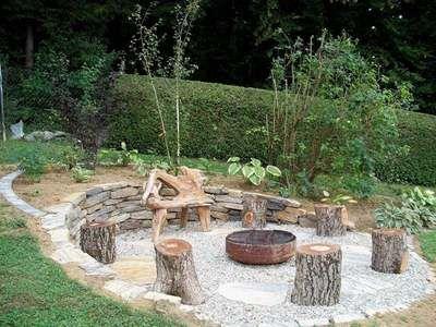 Steinterrasse Badefass Baum Garten Gestaltung Gartengestaltung