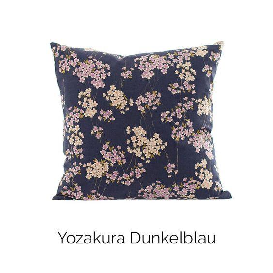 Kissen Shikaku   Yozakura Dunkelblau   100% Baumwolle   aus Kyoto und Hamburg   Akiko #japanese #pillow #home #decor