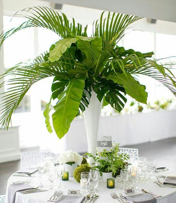 Pieza central Cilindro con hojas verdes: