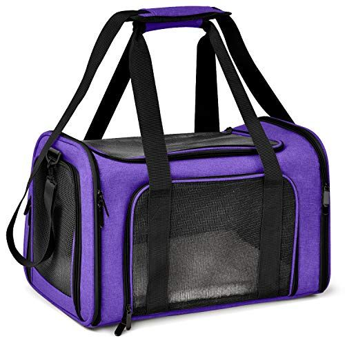 Henkelion Cat Carriers Dog Carrier Pet Carrier For Small Medium Cats Dogs Puppies Up To 15 Lbs Airline Approved Small Dog Carrier Soft Sided Collapsible Waterproof Travel Puppy Carrier Purple
