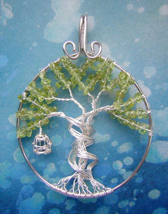 World Tree Sword Art Online Themed Tree of Life Wire-Wrapped Pendant Jewelry Peridot