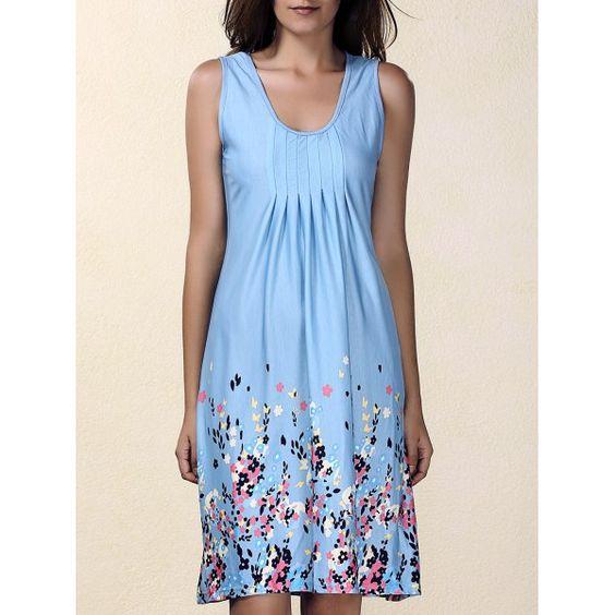 $13.02 Fashionable Women's U Neck Sleeveless Ruffled Floral Print Dress