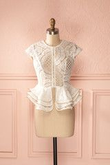 Doula - White lace see-through peplum top