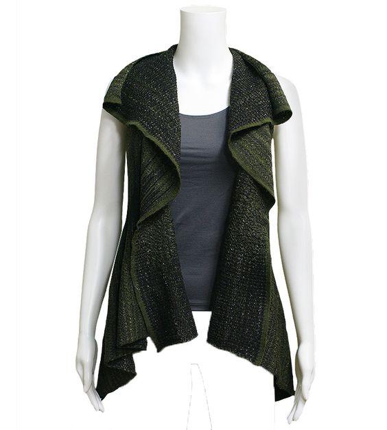 Sarah Pacini Zain Vest: Deep green sleeveless long cardigan sweater.  33% Viscose, 18% Alpaca Superfine, 16% Acrylic, 13% Polyester Comfort, 11% Polyamide, 9% Merino Wool.  Hand Wash.  Made in Italy.  $395.00.  One Size