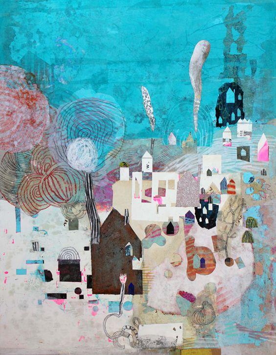 "Muriel Kerba - ""Aquaville"" - #collage"