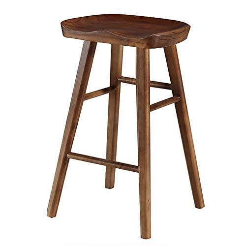 Retro Wooden Bar Stool Simple Dinning Barstool Counter Wood Leg