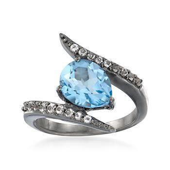 3.40 ct. t.w. Blue and White Topaz Bypass Ring in Sterling Silver
