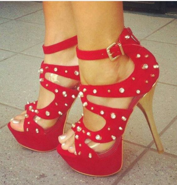Bebe red spiked heels | Love My Shoes | Pinterest | Spiked heels