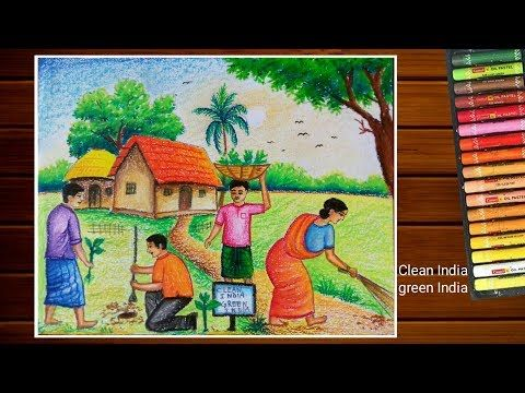 Swachh Bharat Abhiyan Drawing Clean India Green India Drawing Paramparik Bharat Painting Youtube Poster Drawing Mandala Design Art India Painting