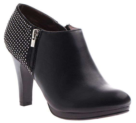 "Madeline ""Bottom Drawer"" in Black. #Bootie #Studded #Heel #Leather #Zipper #Low #Profile #Bold #Sexy"