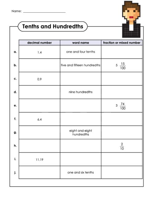 math worksheet : decimals and fractions tenths and hundredths  decimal free  : Adding Fractions And Decimals Worksheets