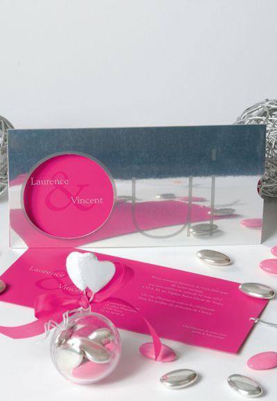 Un faire part sur papier argent effet miroir avec une for Effet miroir sur photoshop