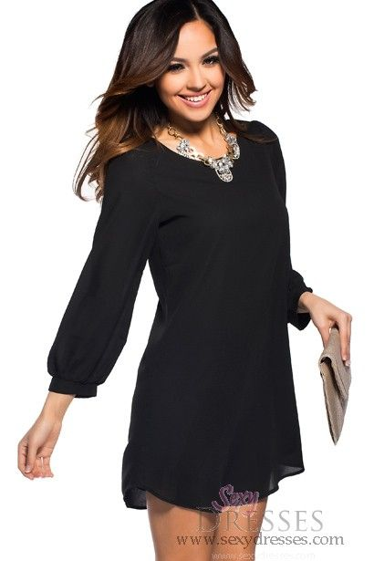 Flowy Black Long Sleeved Shift Dress - Pinterest - Sexy- Cas and ...