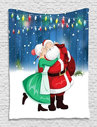 Santa My Love Red Lights and Ornaments Holiday Digital Printed Tapestry Wall Hanging Living Room / Bedroom / Dorm Decor - One of a Kind - Machine Washable - Navy Red Green White *** Check this awesome product by going to the link at the image.