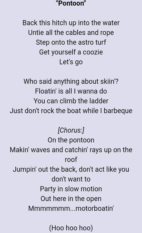 Pontoon By Little Big Town Favorite Lyrics Little Big Town Lyrics