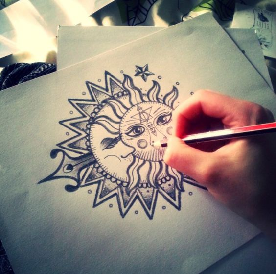 tatouage lune soleil mandala. Black Bedroom Furniture Sets. Home Design Ideas