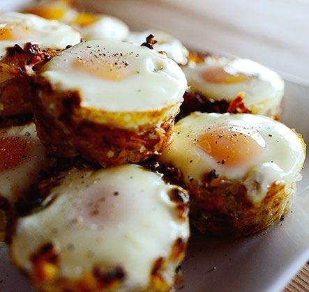Breakfast : Eggs in Hash Brown Nests