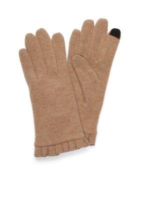 New Directions Camel Womens Wool Ruffle Touchscreen Gloves