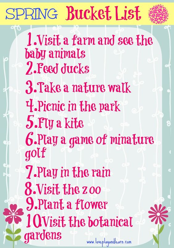 family bucket list for spring free printable