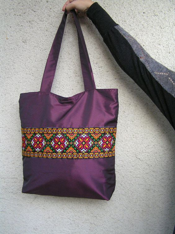 Ready to shipping Large Zippered Tote Bag Canvas by GutsulkaBeauty
