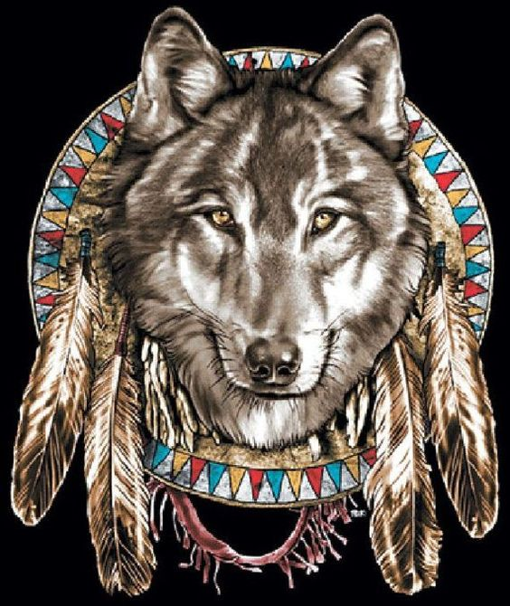 american indian and wolves images | Native American Indian Jumbo Wolf Head and by firelandsteeshirts, $14 ...