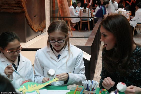 Getting crafty: The charming royal could be seen chatting to the students of Oakington Man...