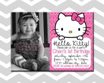 Hello Kitty First Birthday Invitation/Card Hello Kitty Birthday Party With Picture