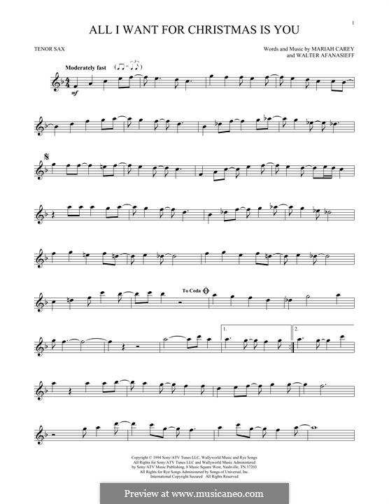 All I Want For Christmas Is You Instrumental Version By M Carey W Afanasieff On Musicaneo Clarinet Sheet Music Saxophone Sheet Music Cello Sheet Music