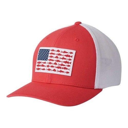 Columbia Pfg Mesh Fish Flag Ball Cap Sunset Red White Hats Columbia Hat Ball Cap Hats