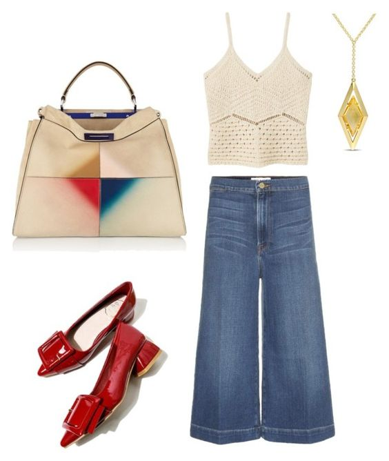 """Casual Chic"" by arta13 ❤ liked on Polyvore featuring Frame Denim, MANGO, Fendi and Versace 19•69"