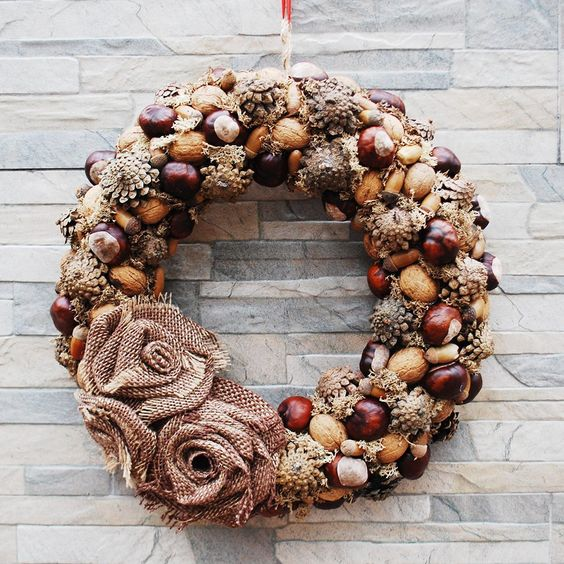 Natural wreath for front door year round, Farmhouse brown door decor, Fall outdoor with cones acorn nuts and chestnuts by HomeBeautyDecor on Etsy #wreaths #naturalwreaths #fallwreath #doorwreaths #autumnwreath #doordecorations #