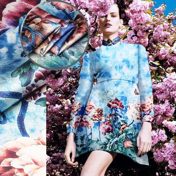 Muster Stoff Floral Print Seidenstoff Seidenkleid von AshleyFabric