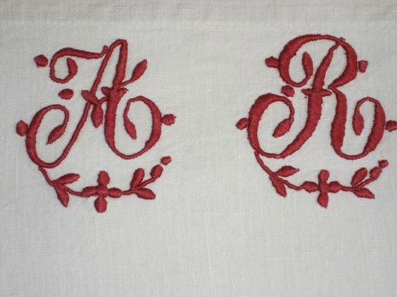 Deliciously curlymonogram AR on a fine linen puillowcase. Sold by chatelaine-chic.