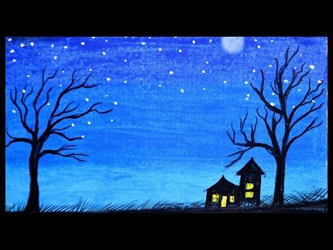 Beautiful Moonlight Scenery Drawings With Oil Pastel Scenery Drawing Scenery Painting Youtube Scenery Paintings Drawing Scenery Moonlight Painting