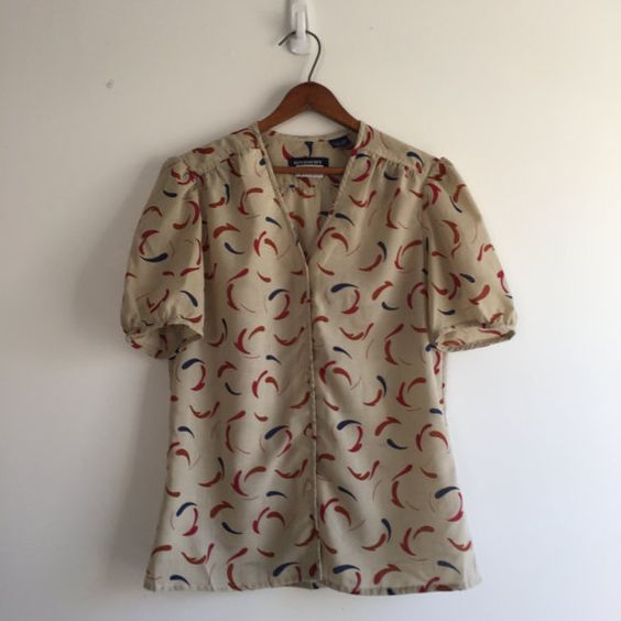 Vintage 80's Givenchy Print Top / Earthy Swirl by vintspiration
