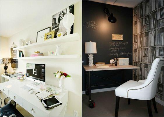 aménagement bureau à la maison avec mur à peinture tableau noir