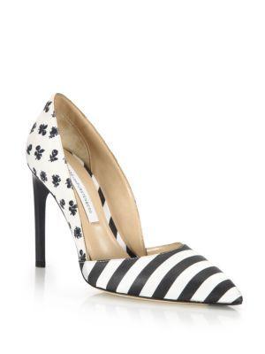 DIANE VON FURSTENBERG Myriam Mixed-Print Pumps. #dianevonfurstenberg #shoes #pumps