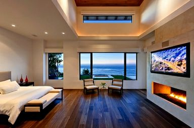 Fireplace in bedroom, overlooking a lovely outside view