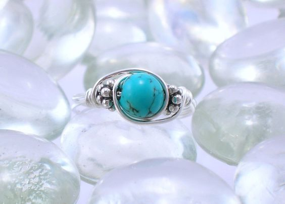Turquoise Sterling Silver Bali Bead Ring - Any Size. $12.00, via Etsy.