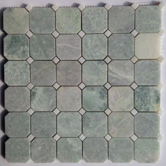12x12 Ming Green Octagon Polished Marble Mosaic With White Marble Green Mosaic Tiles Marble Mosaic Green Marble