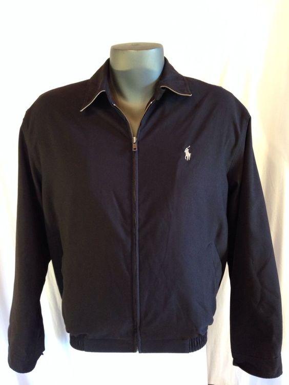 Polo by Ralph Lauren Jacket Men Black Harrington Beige Pony Windbreaker Medium M #RalphLauren #