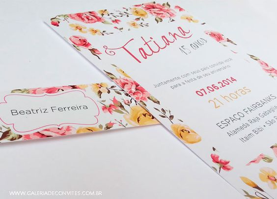 Convite De Quinze Anos: Vintage, 15 Anos And Floral