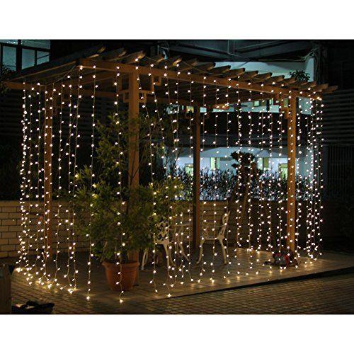 SOLMORE 400 LED 3m x 3m Lichternetz Lichterkette Vorhang Licht Schnur Eiszapfen für Innen Weihnachten Party
